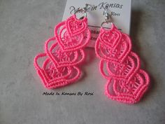 Earrings in neon pink, from Made In Kansas By Rosi... on Facebook