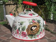 7.5in tall. 9.5in tall to top of bail handle. Vintage Enamel Tea Pot Kettle Hand Painted Nest Eggs Country Red HP