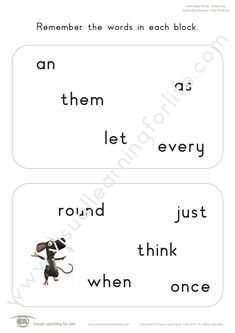 """In the """"Added Word Memory"""" worksheets, the student must remember all the words on the first page so that they can identify the word that has been added on the second page from memory. Learning For Life, Visual Learning, Memory Words, Visual Memory, Three Words, Fifth Grade, First Page, Sight Words, Worksheets"""