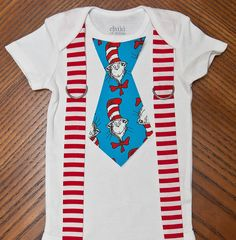 Cat in the Hat Candy Stripes and Suspenders Onesie