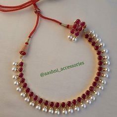 Top 10 Brands To Shop Traditional Jhumkas Online South India Jewels Ruby Necklace Designs, Jewelry Design Earrings, Ruby Jewelry, Gold Jewellery Design, Bead Jewellery, Temple Jewellery, Designer Jewelry, Jewellery Shops, Silver Jewellery