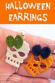 Helga, crochet designer of Crochet Knit Jewelry, has created some of… Crochet Skull Patterns, Halloween Crochet Patterns, Crochet Earrings Pattern, Crochet Patterns Amigurumi, Thread Crochet, Love Crochet, Crochet Gifts, Crochet Yarn, Crochet Pumpkin