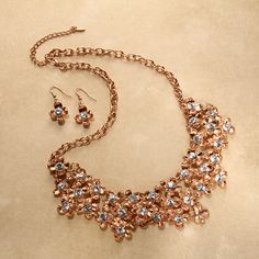Crystal Moonflower Rose Gold Necklace & Earrings Set | ExchangeAuctions.com