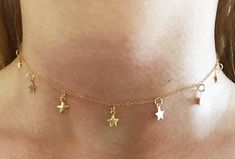 STAR CHOKER Necklace 14k Gold Filled Chain Dangling