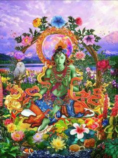 Green Tara Mantra ll (Reprise) cover art Tara Goddess, Goddess Art, Tibetan Art, Tibetan Buddhism, Tara Verte, Green Tara Mantra, Vajrayana Buddhism, Buddha Art, Hindu Art