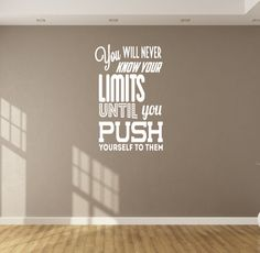 You will never know your limits .. Wall Fitness Decal Quote Gym Kettlebell Crossfit Boxing etc