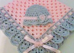 Hand-Crochet Baby Blanket and Hat Set granny by TheShimmeringRose