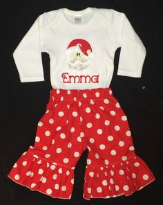 Appliqued Santa bodysuit with ruffle pants by BoutiqfullyYours