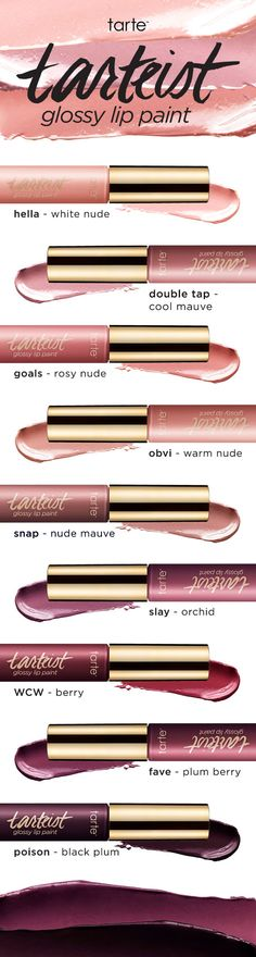 Paint on some sexy color and shine to your pout with our tarteist™ glossy lip paint! Available in 9 shades! #tartecosmetics #veganfriendly