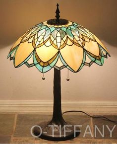 "Tiffany Sty Stained Glass Art Deco Lamp ""Golden Daze"" w/ 20"" Shade & Metal Base $150"