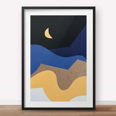 Night Bird - A3 Triptych -1/3 - Abstract Papercut Landscape