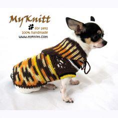 Cowboy country style dog hood sweater crochet by Myknitt. #myknitt #crochet #knit #cowboy #spring #handmade #diy #dog #pet #chihuahua #dogboutique #designerpet