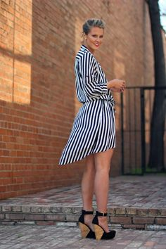 black & white stripes and sky high wedges