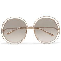 fdb44f6c9f62 Chloé Carlina round-frame gold-plated sunglasses (£890) via Polyvore  featuring