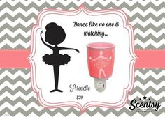 "Scentsy's ""Pirouette"" Nightlight wax warmer new for fall and winter 2016 #ballerina #kids #prettyinpink www.ericajblackwell.scentsy.us"