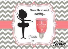 "Scentsy's ""Pirouette"" Nightlight wax warmer new for fall and winter 2016 #ballerina #kids #prettyinpink www.ericajblackwell.scentsy.us"