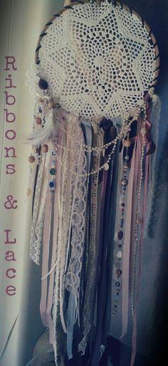 Ribbons & Lace dreamcatcher. I love the vintage doily!! I'm bummed this one is sold! :/    www.facebook.com/DreamRaes www.etsy.com/shop/DreamRaes