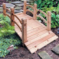 wooden garden bridge with rails improvements
