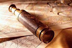 Framed Print - Nautical Map and Spyglass Telescope (Picture Poster Art Pirate) Charles Vane, Killian Jones, Elisabeth Swan, Moby Dick, The Grisha Trilogy, Sea Captain, Captain Hook, His Dark Materials, Treasure Planet