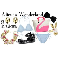 """Alice on the beach, Disneybound style! A perfectly feminine and cute """"Alice in Wonderland"""" outfit for lounging around during the summer! Movie Inspired Outfits, Disney Inspired Fashion, Themed Outfits, Disney Fashion, Women's Fashion, Disney Bathing Suit, Cute Bathing Suits, Disney Dress Up, Disney Outfits"""