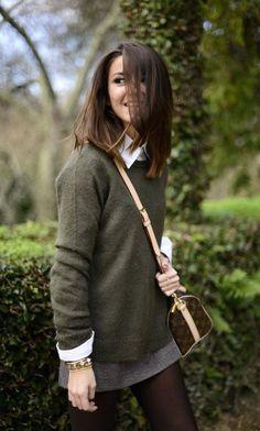 #fall #fashion / green + knit layers