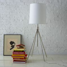 Adjustable Metal Floor Lamp, Silver/White at West Elm - Floor Lamps - Home Lighting - Home Furniture Contemporary Floor Lamps, Modern Floor Lamps, Modern Lighting, Task Lighting, Modern Contemporary, Home Living, My Living Room, Apartment Living, West Elm Floor Lamp