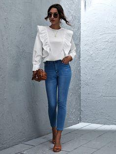 Modest Fashion, Fashion Dresses, Skirt Pants, Shorts, Playsuit Dress, Top P, Classy Dress, Ruffle Trim, Pearl Beads