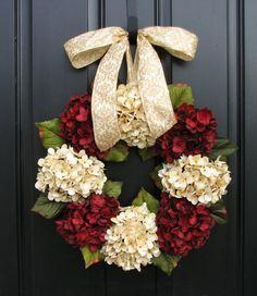 Christmas Wreath, Traditional Christmas, Holidays, Christmas Wreaths, Hydrangeas, Home for the Holidays, Home Decor via Etsy