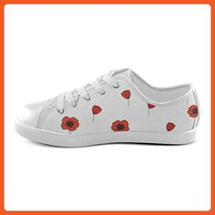 cac685afb70 Angelinana Custom Red Poppy Lace-up Flats Canvas Shoes Sneakers for Adult  Women -US7