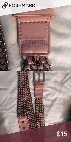 Guess Woven Pink Leather & Silver woven Belt Guess Pink Leather & Chain Silver Belt Size Large... Guess Accessories Belts