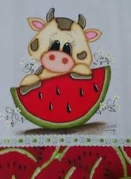 Imagem relacionada Precious Moments Coloring Pages, Summer Painting, Cow Art, Animal Books, Beautiful Gif, Cows, Pet Birds, Painted Rocks, Diy And Crafts