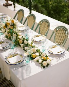 This combination is definitively cheery, whether you use turquoise and lemon (shown in this tablescape planned by Ema Giangreco), cornflower and goldenrod, or another happy mix. Wedding Color Schemes, Wedding Colors, Wedding Decorations, Table Decorations, Wedding Table, Wedding Ideas, Wedding Boxes, Wedding Stuff, Dream Wedding