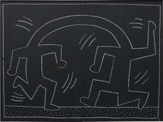 Keith Haring (American, 1958 –1990), Subway Drawing, 1982 –1984. Chalk on black paper, on New York Metro advertisement board, 139 × 187 cm (54 ¾ × 73 ⅝ in).