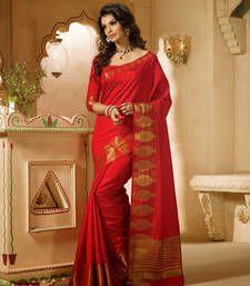 Buy Red Zari silk saree with blouse banarasi-silk-saree online