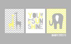 Grey and Yellow Nursery art prints, Set of 3 11x14. Elephant, Giraffe, You are my sunshine  Nursery