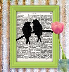 Items similar to Lovebird Bird Art Print black bird silhouette vintage dictionary art print Upcycled Artwork birds in love Easter art print on Etsy Art Diy, Diy Wall Art, Arts And Crafts, Paper Crafts, Diy Crafts, Decoration St Valentin, Newspaper Art, Bird Silhouette, Easter Art