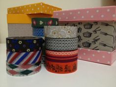 Decorated the boxes from Daiso with washi tapes :)