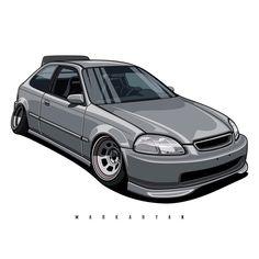 "Oleg Markaryan en Instagram: ""Honda Civic EK. Vector art. Owner: @antonioloko. You can also order the the art with your car. I accept orders. Write me DM or email. #178…"""