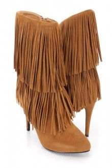 Camel Fringe Tiered Ankle Booties Faux Suede