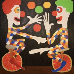 Juggling Clowns/Maarit Korhonen, acrylic, oil sticks, canvas, 100cm x 100cm Dark Paintings, Original Paintings, Online Painting, Artwork Online, Dancer In The Dark, Autumn Painting, Original Art For Sale, Clowns, Figurative Art