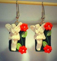 Ohrringe und Ohrstecker im Onlineshop - Verrückte Ohrringe und Schmuck Welt  - Ohrringe Fee Blüten Edelstahl handgemacht aus Sculpey Neuware