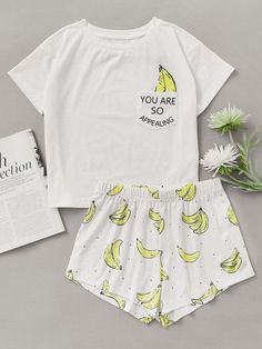 Banana Print Pocket Front Top With Shorts Pajama Set