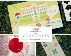 """Calembour Design per Villa Carlotta. In dettaglio la cartolina, """"the hidden garden"""" e """"today I'm a gardener""""."""