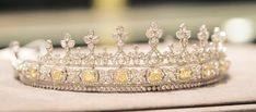 Yellow Diamond Tiara; Worn At: 2016 British State Opening of Parliament --- Wedding Ball for Luis and Amelie --- 2016 Nobel Prize Awards Ceremony