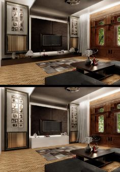Living-room, before and after the client's review - ©andibuftea & Ezzo Design - Isb apartment by Andi Buftea from Ezzo Design, Timișoara, Romania