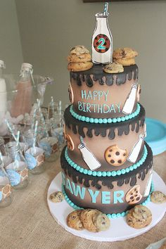 Amazing MIlk and Cookies Birthday Party cake!  See more party ideas at CatchMyParty.com!