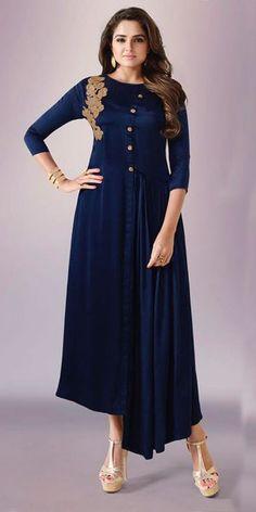 Blossom Blue Georgette Kurti.