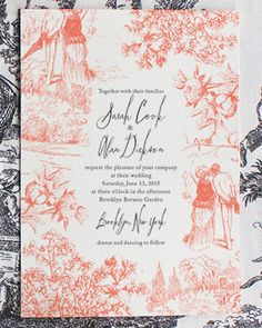 Modern Toile Wedding Invitations via @Oh So Beautiful Paper: http://ohsobeautifulpaper.com/2014/02/sarah-alans-modern-toile-wedding-invitations/ | Design + Photo: Lucky Luxe #wedding | Design + Photo: Lucky Luxe #wedding