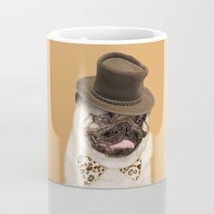 """Printable pug art """"Pug in Top Hat"""", dog wall hanging, pug dog print art, human animal art. Fat Pug, Pug Breed, Pug Mug, Dog Memes, Pugs, Coffee Mugs, Printable, Lovers, Hat"""