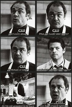 """""""The only reason Crowley has made it to season 8 is because he's the only being that has never underestimated the Winchesters"""" -- Supernatural. I love Crowley. Sam Winchester, Winchester Supernatural, Winchester Brothers, Castiel, Sammy Supernatural, Supernatural Quotes, Supernatural Bloopers, Supernatural Tattoo, Supernatural Wallpaper"""